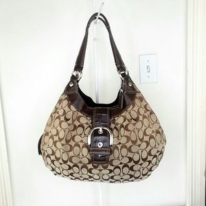 Coach Lynn Jacquard & Leather Hobo Shoulder Bag